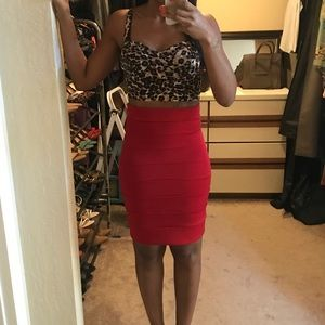 Leopard crop top & pencil skirt